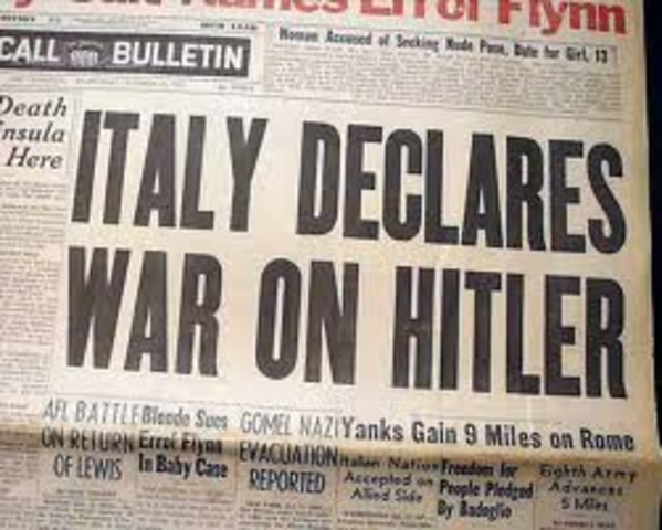 Italy declares war on Germany