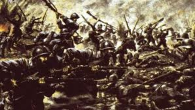 El ejercito francés, mandado por Joffre , detiene en el Marne el avance alemán, al tiempo que el frente occidental se estanca en una guerra de trincheras.