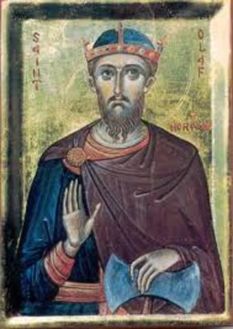 Olav 1er devient roi de Norvege et declare ce territoire anglais aux danois