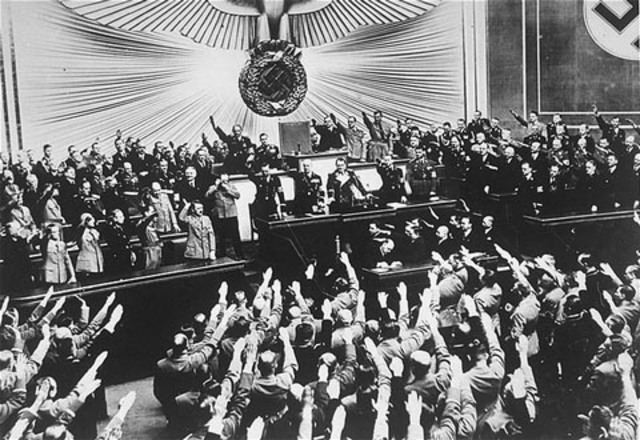 Hitler threatens Jews during Reichstag speech.
