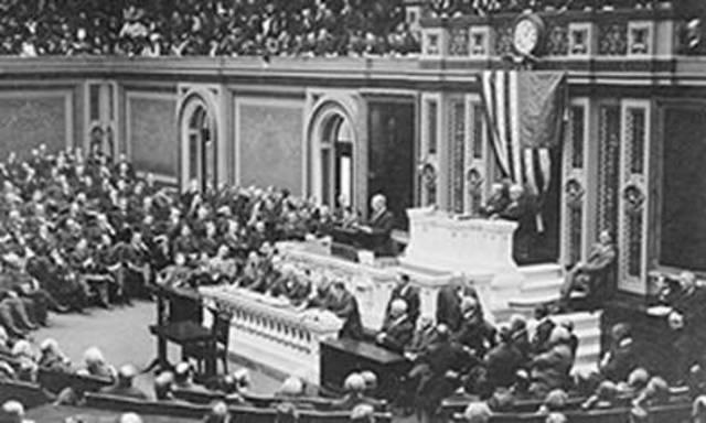 President Woodrow Wilson Delivers Speech