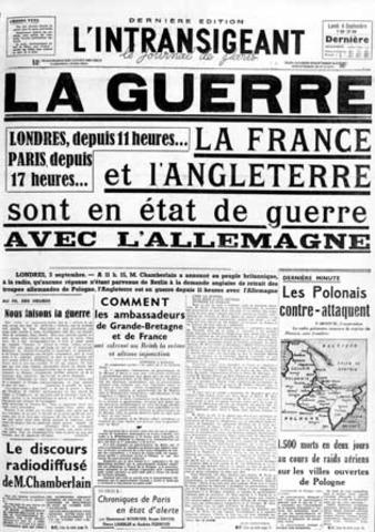 Francia y Reino Unido declaran la guerra al Tercer Reich.