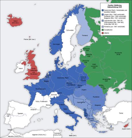 1941 Europa dividida en dos zonas.