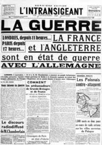 Gran Bretaña y Francia le declaran la guerra a Alemania.