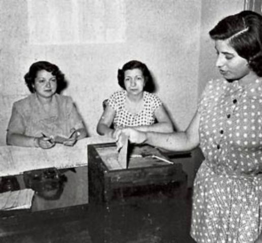 Aplicación del sufragio femenino por primera vez