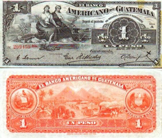 Entra en circulacion el peso guatemalteco.