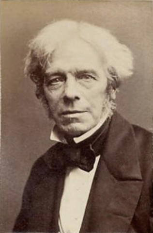 Faraday passes electric current through copper