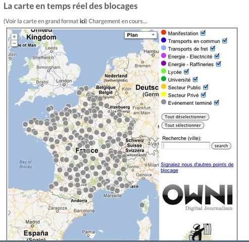 Médiapart Retraites: la carte dynamique des blocages