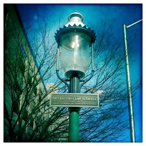 Street Lights lit with gas made from coal - Baltimore, Maryland.