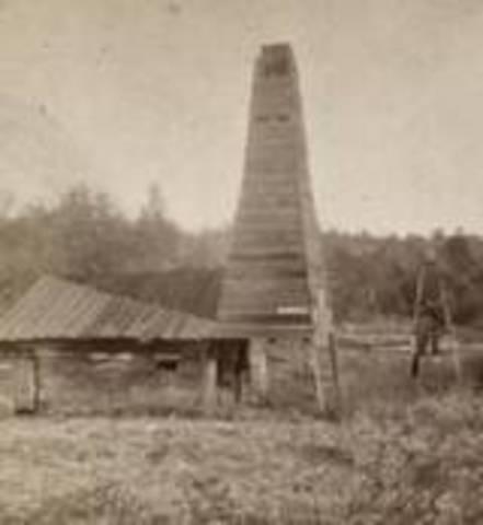 Edwin Drake drills first oil well (69 feet) - Titusville, Pennslyvania