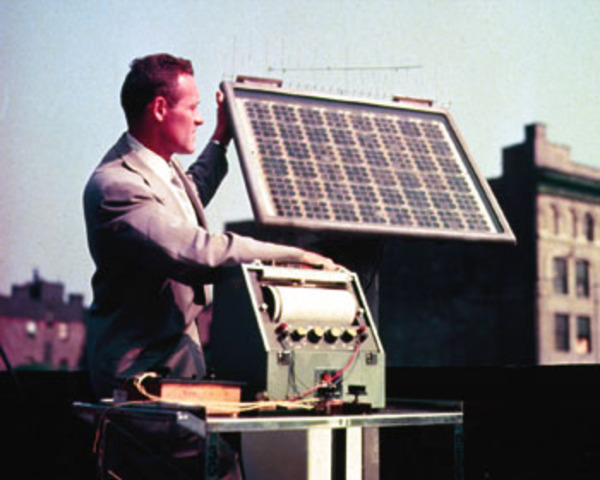 First Photovoltaic System, solar cell module used in space, built by Bell Labs.