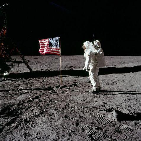 U.S. astronauts land on the moon