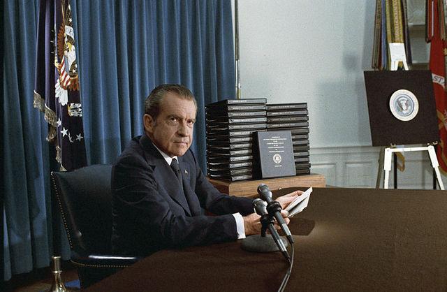 Nixon resigns due to Watergate Scandal