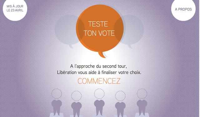 """Libération """"Test ton vote"""""""