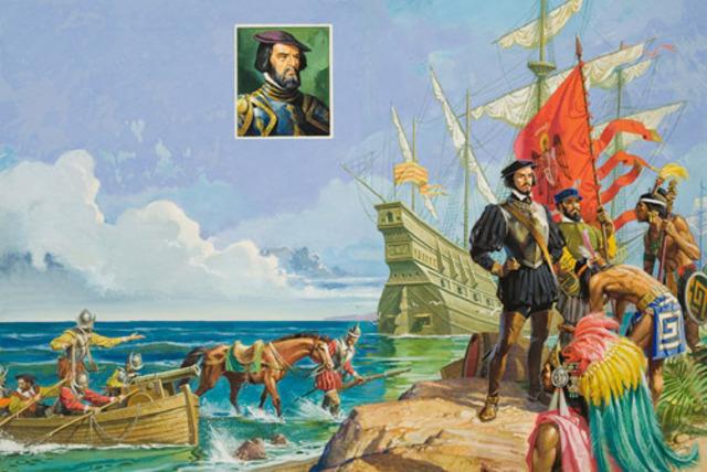 Cortez sets sail for Mexico