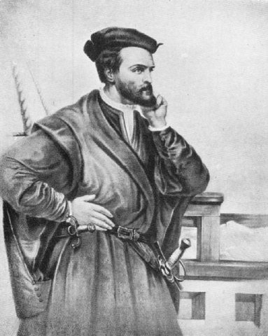 Jacques Cartier sails across the Atlantic to discover new lands for France.