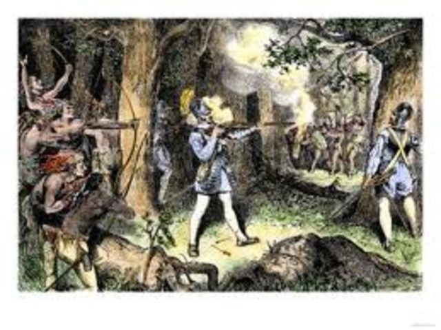 Champlain is the first European to use firearms against Indians (Iroquois).