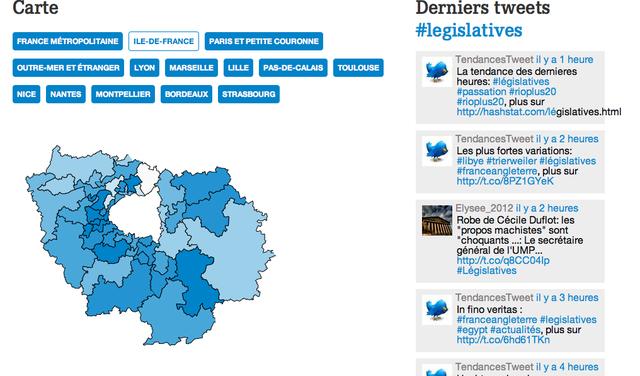 AFP avec journalism ++ Législatives carte des débats sur Twitter