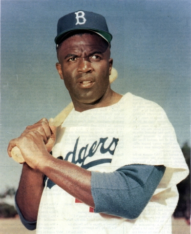 Jackie Robinsons plays his first game as a Brooklyn Dodger (VUS.14a)