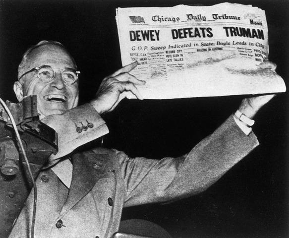 Truman (not Dewey) wins presidential election