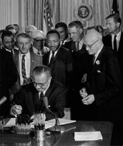 Johnson Signs the Civil Rights Act of 1964 (VUS.14b)