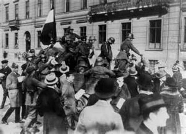 """""""Beer Hall Putsch"""":  Hitler's failed coup d'état takes place in Munich.  Afterwards Hitler flees, is arrested and spends about a year in prison during 1924-25."""