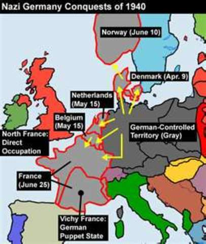 Germany captures Denmark, Norway, the Netherlands, Belgium, France and Luxembourg.