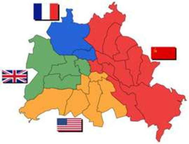 June: Germany divided into four zones of military occupation (United States, the United Kingdom, France, and the Soviet Union)