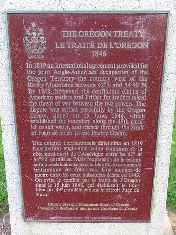 The signing of the Oregon treaty (British Columbia)