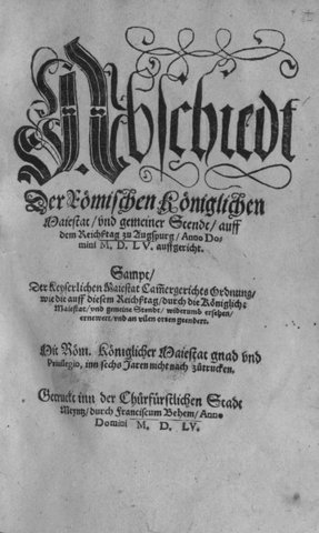 The Peace of Augsburg,