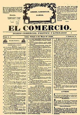 El periódico El Comercio de Perú sale a circulación en esta fecha