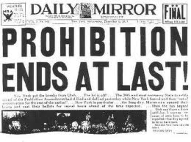 End of prohibition in the US