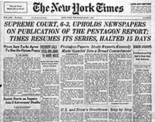 Beginning of the release of the Pentagon Papers excerpts
