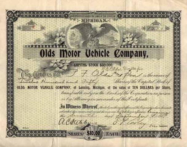 Olds Motor Company is established