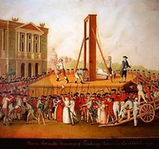 Marie Antoinette is killed in the guillotine.