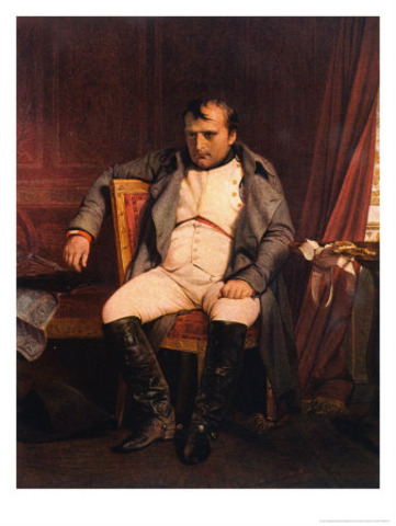 Napoleon gives up his throne.