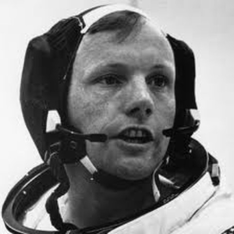 Neil Armstrong steps onto the moon- First man to go on the moon.