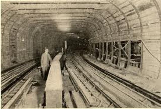 The first subway train in New York City