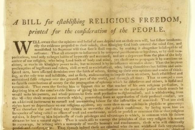 Bill for Establishing Religious Freedoms