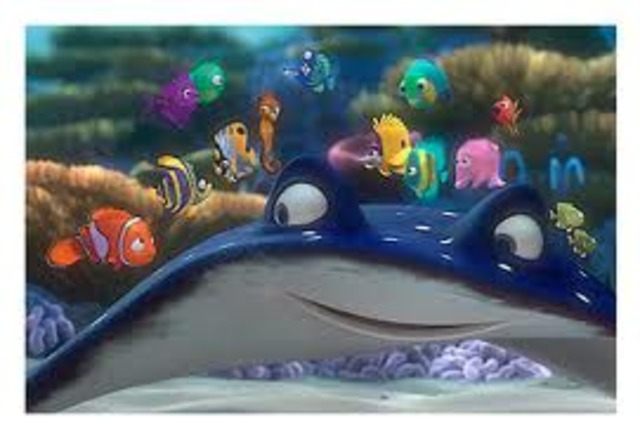 Nemo's first day of school. Marlin tells joke to parents, and no one laughs.