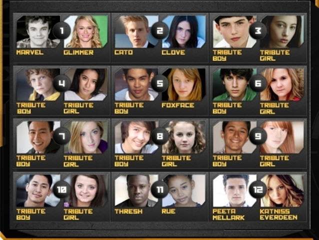 74th Annual Hunger Games Tributes from all disctrics
