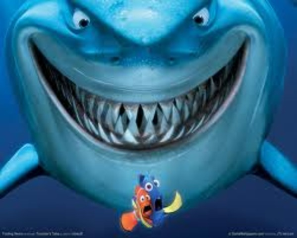 Dory and Marlin(Dad) meet Bruce, the shark, and his posse.