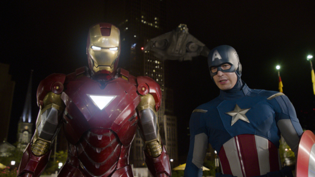 Stark, Rogers, and Agent Romanoff confront Loki where he surrenders.