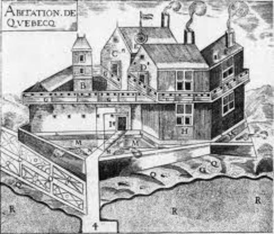 """Samuel de Champlain founds settlement at Quebec City (""""Habitation"""")"""