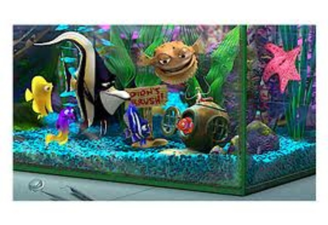 Nemo meets the fish in the tank in the dentist office, Nemo finds out he's Darla's present.