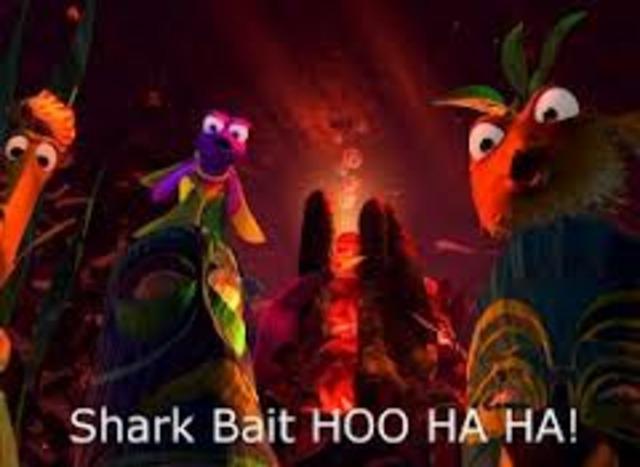 "Gil ""initiates"" Nemo into their tank. (SHARK BAIT HOO HA HA)"