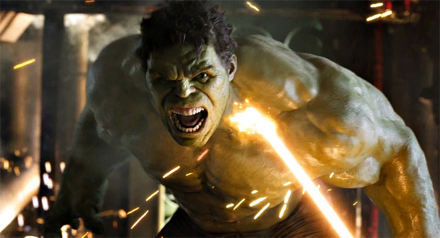 Hawkeye turns Banner into the Hulk and Thro tries to calm him down.