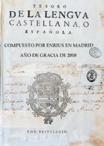 Publicación del Tesoro de la lengua castellana o española