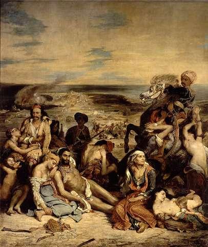 """Romantisme """"Scène de massacre de Scio2, Eugène Delacroix"""