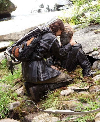 Katniss searches for Peeta and finds him injured and painted as a rock.